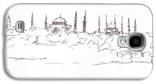 Abstract Beach Landscape Drawings Galaxy S4 Cases - Lido view Serenity Blue Mosque Galaxy S4 Case by Valerie Freeman