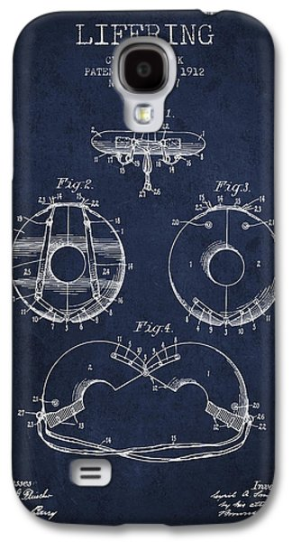 Saving Galaxy S4 Cases - Life Ring Patent from 1912 - Navy Blue Galaxy S4 Case by Aged Pixel