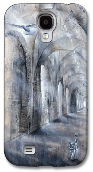 Church Pillars Paintings Galaxy S4 Cases - Light and Shadow Galaxy S4 Case by Annette Schmucker