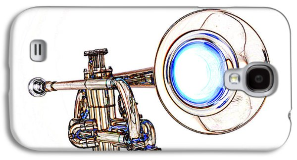 Business Drawings Galaxy S4 Cases - Light Color Drawing of a Trumpet Bell Isolated 3018.06 Galaxy S4 Case by M K  Miller