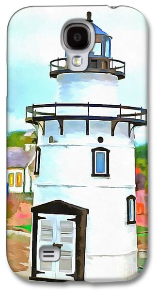 Recently Sold -  - Sports Photographs Galaxy S4 Cases - Lighthouse at Old Saybrook Point Galaxy S4 Case by Edward Fielding