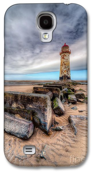 Rail Digital Art Galaxy S4 Cases - Lighthouse at Talacre  Galaxy S4 Case by Adrian Evans