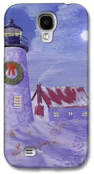 Wreath Paintings Galaxy S4 Cases - Lighthouse Christmas Galaxy S4 Case by Jerry McElroy