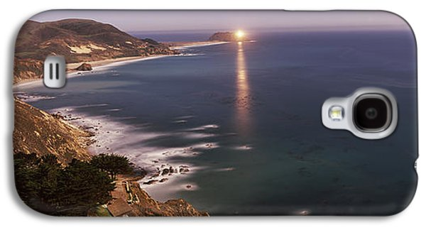 Big Sur California Galaxy S4 Cases - Lighthouse Lit Up At Night, Moonlight Galaxy S4 Case by Panoramic Images