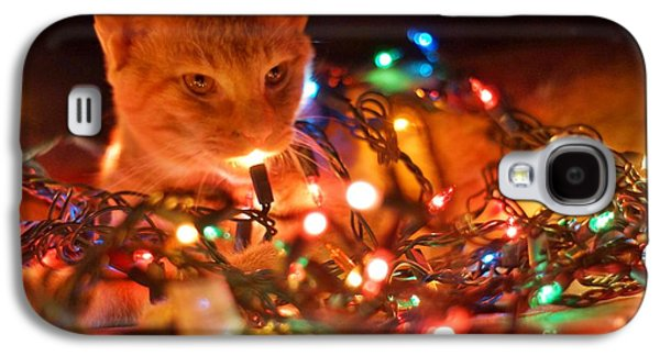 Lighting Up The Christmas Cat Galaxy S4 Case by Lynda Dawson-Youngclaus