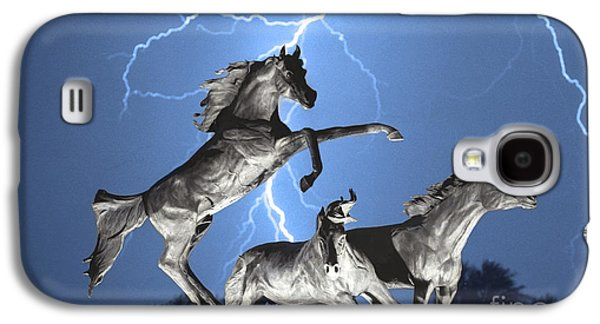 Horse Images Galaxy S4 Cases - Lightning At Horse World BW Color Print Galaxy S4 Case by James BO  Insogna