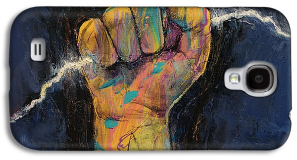 Drips Paintings Galaxy S4 Cases - Lightning Galaxy S4 Case by Michael Creese