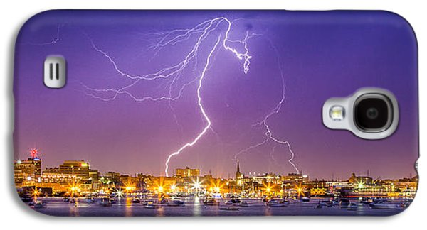 Storm Prints Photographs Galaxy S4 Cases - Lightning over downtown Portland Maine Galaxy S4 Case by Benjamin Williamson