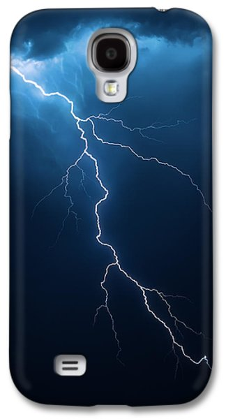 Dark Digital Art Galaxy S4 Cases - Lightning with cloudscape Galaxy S4 Case by Johan Swanepoel