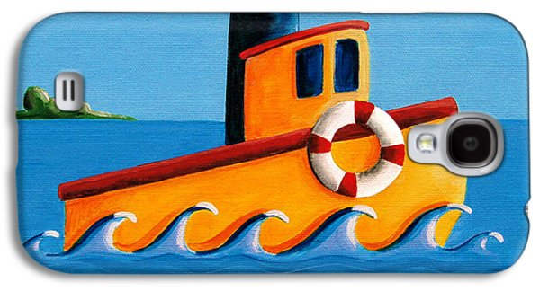 Harbor Paintings Galaxy S4 Cases - Lil Tugboat Galaxy S4 Case by Cindy Thornton
