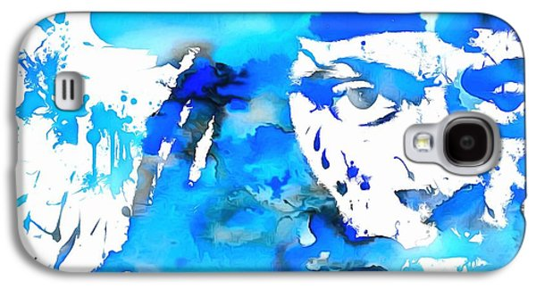Lil Wayne Galaxy S4 Cases - Lil Wayne Blue Paint Splatter Galaxy S4 Case by Dan Sproul