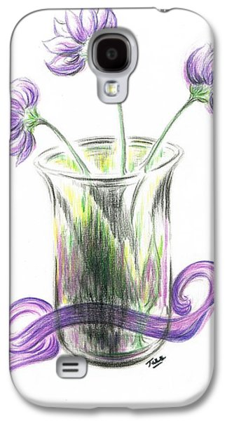Lilacs Drawings Galaxy S4 Cases - Lilac flowers  Galaxy S4 Case by Teresa White