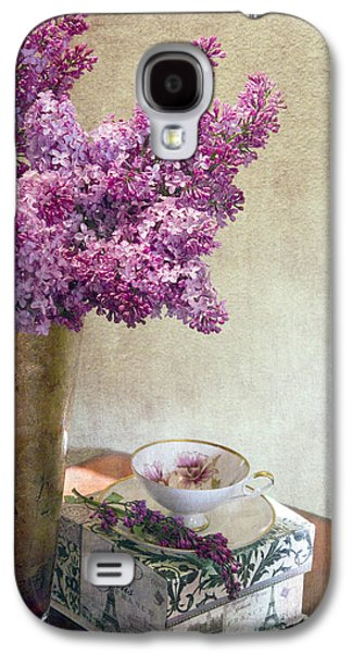 Lilacs Galaxy S4 Cases - Lilacs in Vase 3 Galaxy S4 Case by Rebecca Cozart