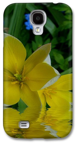 Waterscape Mixed Media Galaxy S4 Cases - Lilium Of Gold Galaxy S4 Case by Pepita Selles