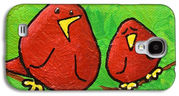 Yellow Beak Paintings Galaxy S4 Cases - Limb Birds - Red Overhead Galaxy S4 Case by Linda Eversole