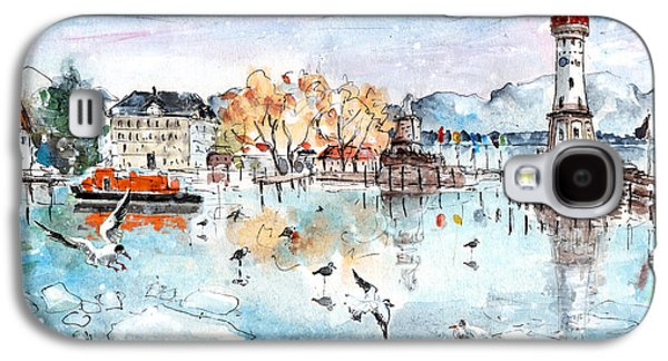 Switzerland Drawings Galaxy S4 Cases - Lindau Harbour In Winter Galaxy S4 Case by Miki De Goodaboom