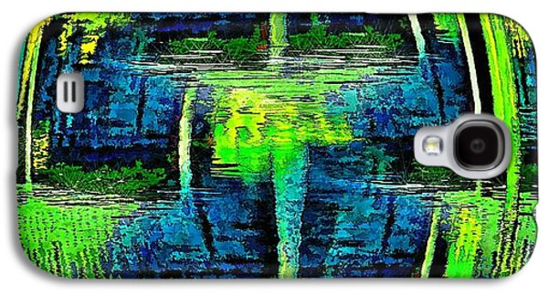 Abstract Movement Galaxy S4 Cases - Lines and Curves in Blue and Green Galaxy S4 Case by Pamela Blizzard
