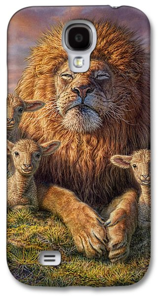Sun Mixed Media Galaxy S4 Cases - Lion and Lambs Galaxy S4 Case by Phil Jaeger