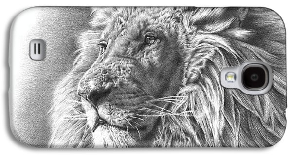 Black Drawings Galaxy S4 Cases - Lion Drawing Galaxy S4 Case by Heidi Vormer