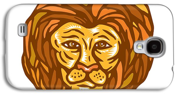 Linoleum Print Galaxy S4 Cases - Lion Head Woodcut Linocut Galaxy S4 Case by Aloysius Patrimonio