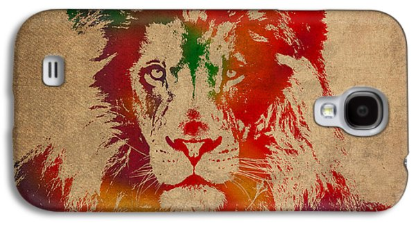 Lions Mixed Media Galaxy S4 Cases - Lion Watercolor Portrait on Old Canvas Galaxy S4 Case by Design Turnpike