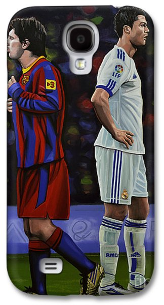 Idol Galaxy S4 Cases - Lionel Messi and Cristiano Ronaldo Galaxy S4 Case by Paul  Meijering
