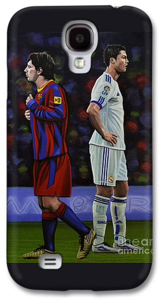Work Of Art Galaxy S4 Cases - Lionel Messi and Cristiano Ronaldo Galaxy S4 Case by Paul Meijering
