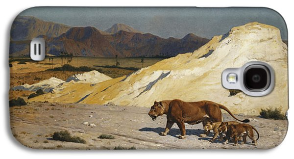 Gerome Galaxy S4 Cases - Lioness and Cubs Galaxy S4 Case by Jean Leon Gerome