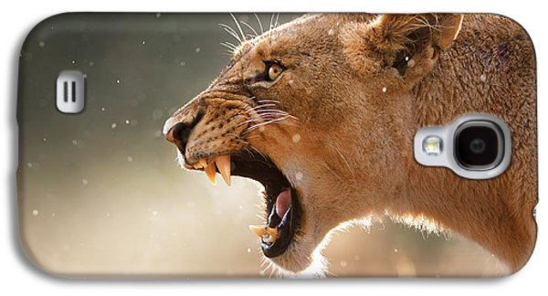 Eyes Galaxy S4 Cases - Lioness displaying dangerous teeth in a rainstorm Galaxy S4 Case by Johan Swanepoel