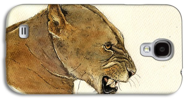Nature Study Paintings Galaxy S4 Cases - Lioness Galaxy S4 Case by Juan  Bosco