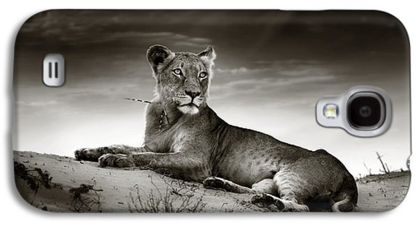 Lioness Galaxy S4 Cases - Lioness on desert dune Galaxy S4 Case by Johan Swanepoel