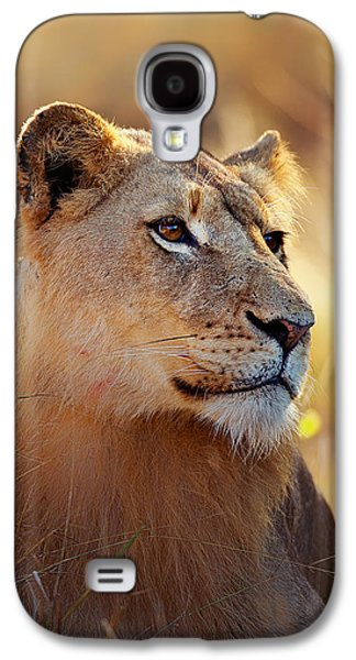 Lioness Galaxy S4 Cases - Lioness portrait lying in grass Galaxy S4 Case by Johan Swanepoel