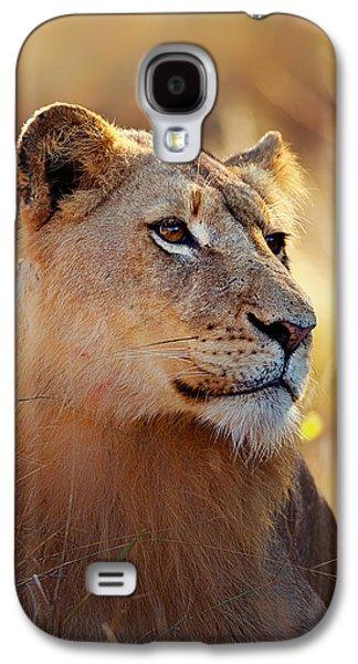 Leo Galaxy S4 Cases - Lioness portrait lying in grass Galaxy S4 Case by Johan Swanepoel