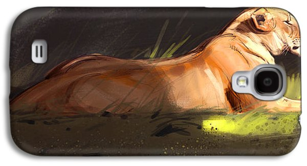 Digital Galaxy S4 Cases - Lioness Sketch Galaxy S4 Case by Aaron Blaise