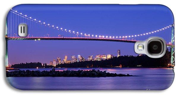 Burrard Inlet Galaxy S4 Cases - Lions Gate Bridge At Dusk 3 Galaxy S4 Case by Terry Elniski