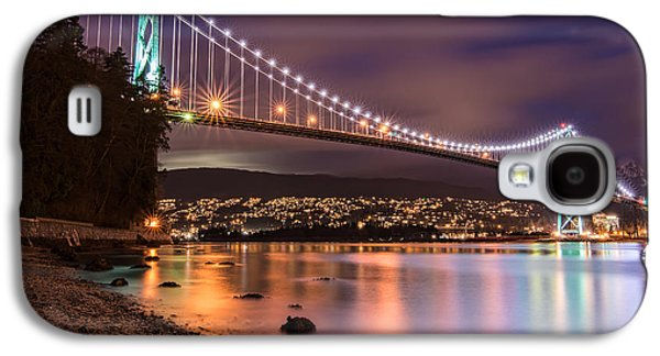 Burrard Inlet Galaxy S4 Cases - Lions Gate Bridge at Night Galaxy S4 Case by James Wheeler