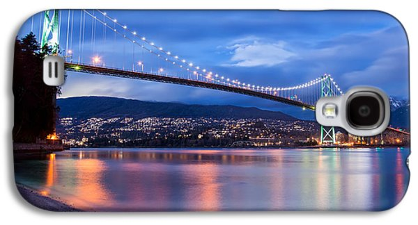 Burrard Inlet Galaxy S4 Cases - Lions Gate Bridge Just After Sunset Galaxy S4 Case by James Wheeler