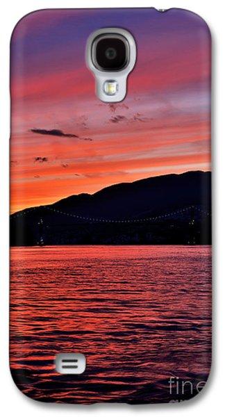 Burrard Inlet Galaxy S4 Cases - Lions Gate Bridge Sunset Galaxy S4 Case by Terry Elniski
