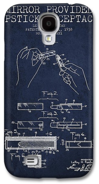 Make-up Galaxy S4 Cases - Lipstick Mirror Patent from 1938 - Navy Blue Galaxy S4 Case by Aged Pixel
