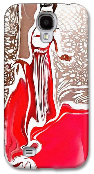Catherine White Digital Galaxy S4 Cases - Liquid Red Galaxy S4 Case by Catherine Lott