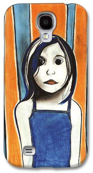 Creepy Pastels Galaxy S4 Cases - Little Blue Girl Galaxy S4 Case by Anna Kaszupski