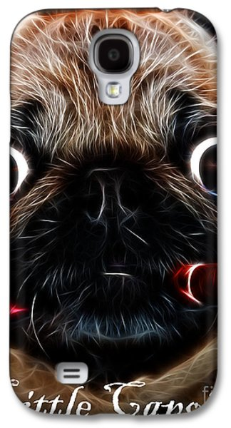 Puppy Digital Art Galaxy S4 Cases - Little Capone - c28169 - Electric Art - With Text Galaxy S4 Case by Wingsdomain Art and Photography