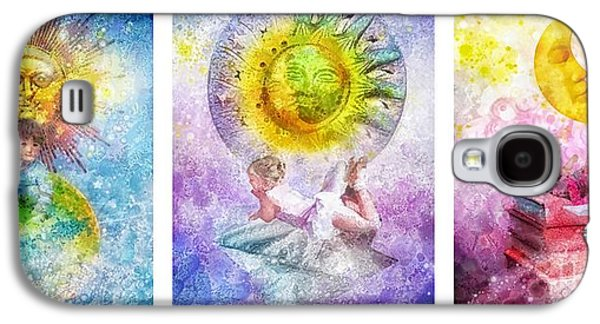 Little Girls Mixed Media Galaxy S4 Cases - Little Dream Triptic Galaxy S4 Case by Mo T