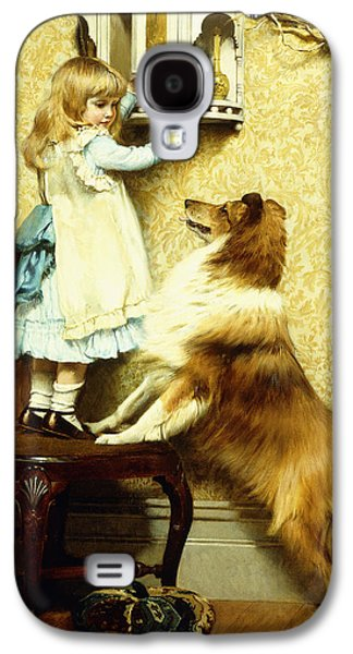 Doggy Galaxy S4 Cases - Little Girl and her Sheltie Galaxy S4 Case by Charles Burton Barber