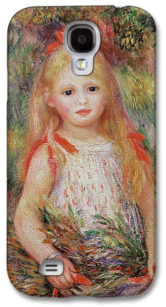 Youthful Galaxy S4 Cases - Little Girl Carrying Flowers Galaxy S4 Case by Pierre Auguste Renoir