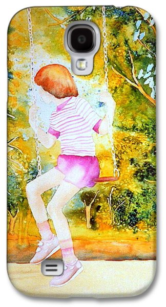 Park Scene Paintings Galaxy S4 Cases - Little Girl On The Park Swing Westmount Quebec City Scene Montreal Art Galaxy S4 Case by Carole Spandau
