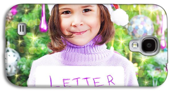 Anticipation Photographs Galaxy S4 Cases - Little girl with letter to Santa Claus Galaxy S4 Case by Anna Omelchenko