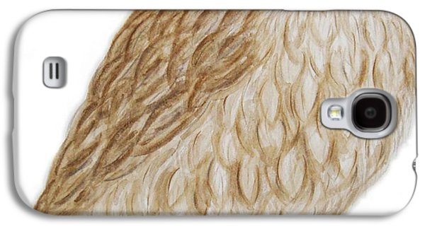 Feather Drawings Galaxy S4 Cases - Little Owl Galaxy S4 Case by Ele Grafton