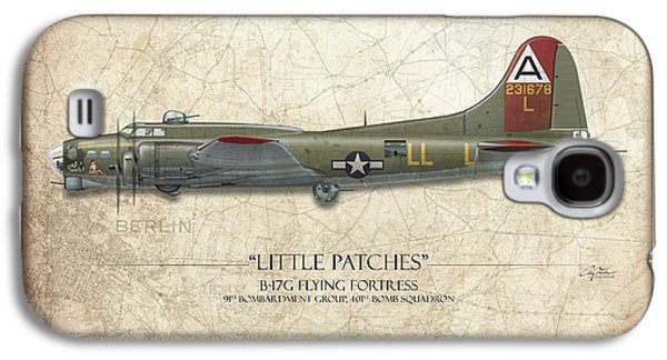 Patch Galaxy S4 Cases - Little Patches B-17 Flying Fortress - Map Background Galaxy S4 Case by Craig Tinder
