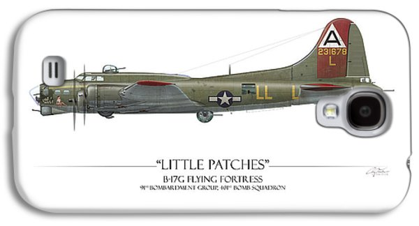 Patch Galaxy S4 Cases - Little Patches B-17 Flying Fortress - White Background Galaxy S4 Case by Craig Tinder